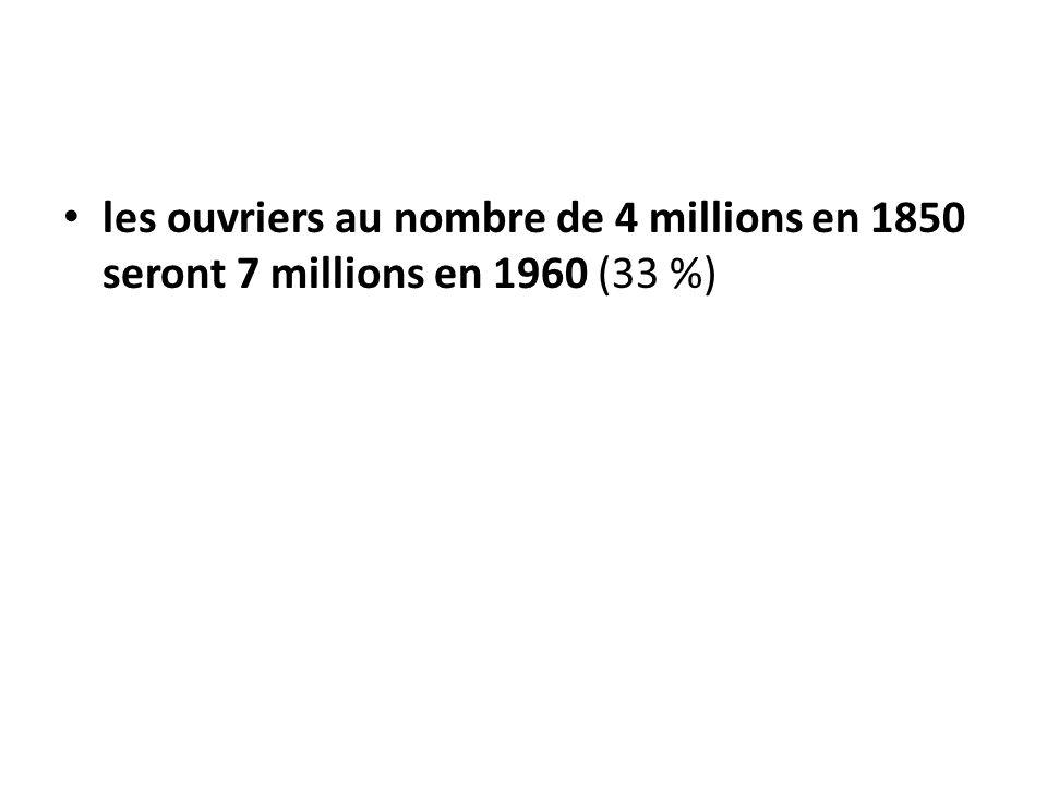 les ouvriers au nombre de 4 millions en 1850 seront 7 millions en 1960 (33 %)