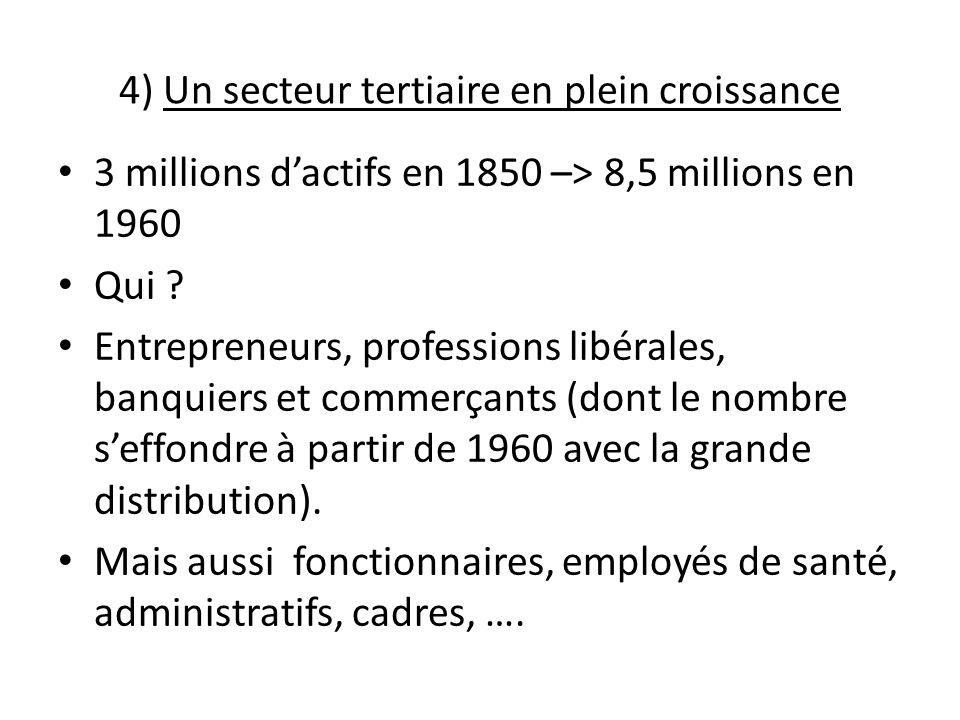 4) Un secteur tertiaire en plein croissance 3 millions dactifs en 1850 –> 8,5 millions en 1960 Qui ? Entrepreneurs, professions libérales, banquiers e