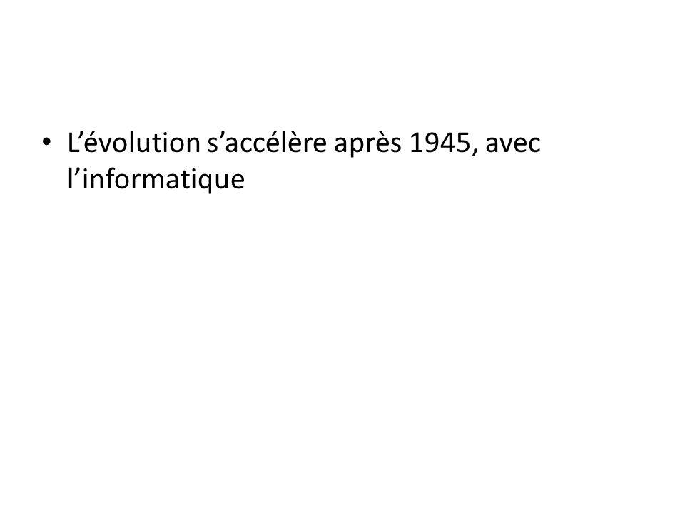 Lévolution saccélère après 1945, avec linformatique