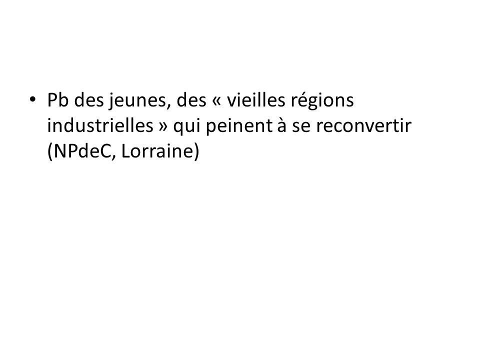 Pb des jeunes, des « vieilles régions industrielles » qui peinent à se reconvertir (NPdeC, Lorraine)