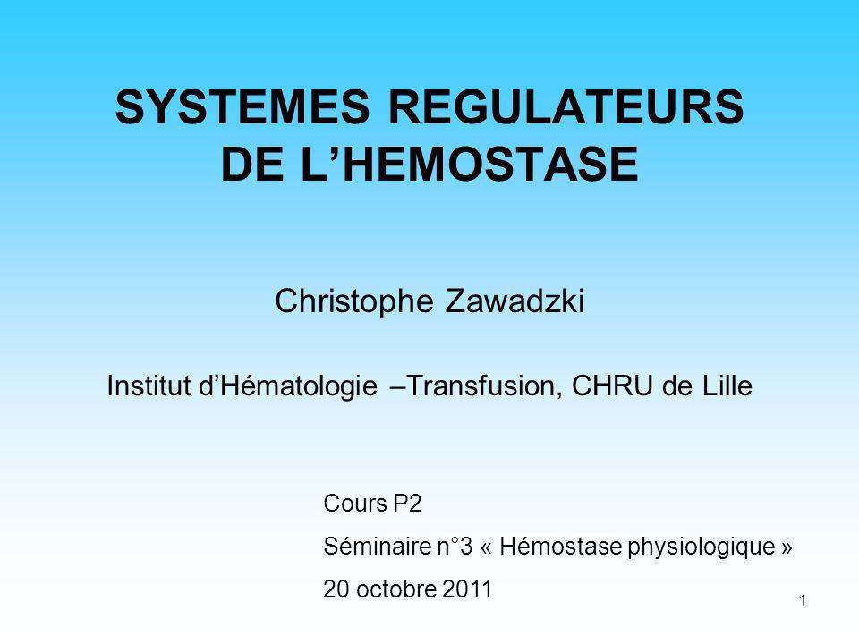 2 Role des systèmes régulateurs de lhémostase Lesquels.