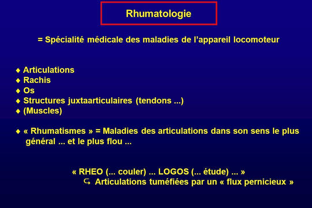 Rhumatologie = Spécialité médicale des maladies de lappareil locomoteur Articulations Rachis Os Structures juxtaarticulaires (tendons...) (Muscles) «