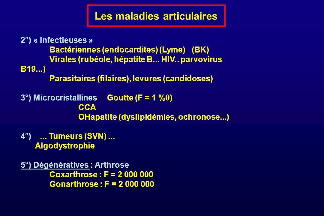 Les maladies articulaires 2°) « Infectieuses » Bactériennes (endocardites) (Lyme) (BK) Virales (rubéole, hépatite B... HIV.. parvovirus B19...) Parasi