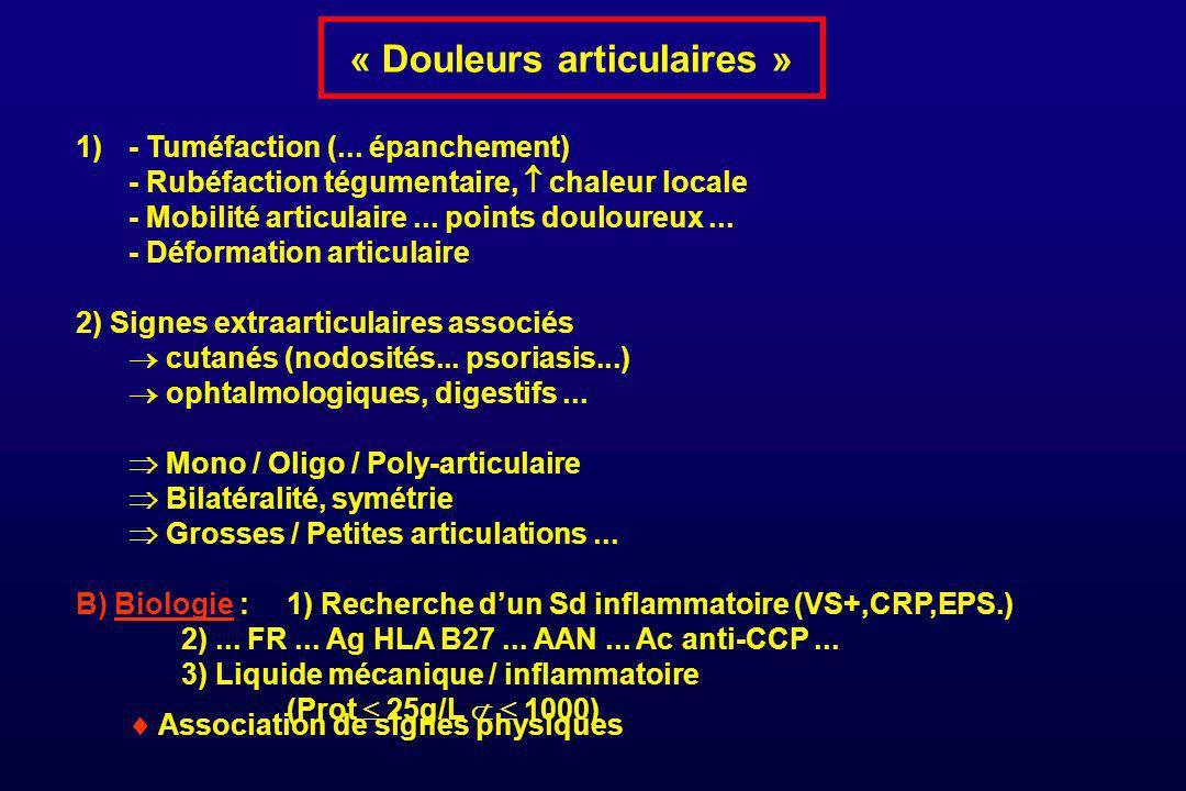 « Douleurs articulaires » 1) - Tuméfaction (... épanchement) - Rubéfaction tégumentaire, chaleur locale - Mobilité articulaire... points douloureux...