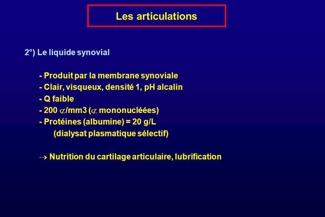 Les articulations 2°) Le liquide synovial - Produit par la membrane synoviale - Clair, visqueux, densité 1, pH alcalin - Q faible - 200 /mm3 ( mononuc