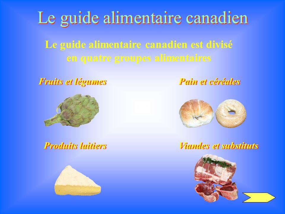 Le guide alimentaire canadien Le guide alimentaire canadien est divisé en quatre groupes alimentaires Fruits et légumes Viandes et substituts Produits