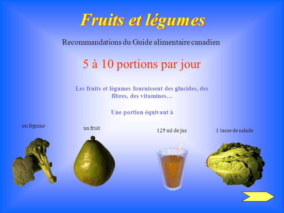 Fruits et légumes Recommandations du Guide alimentaire canadien 5 à 10 portions par jour Les fruits et légumes fournissent des glucides, des fibres, d