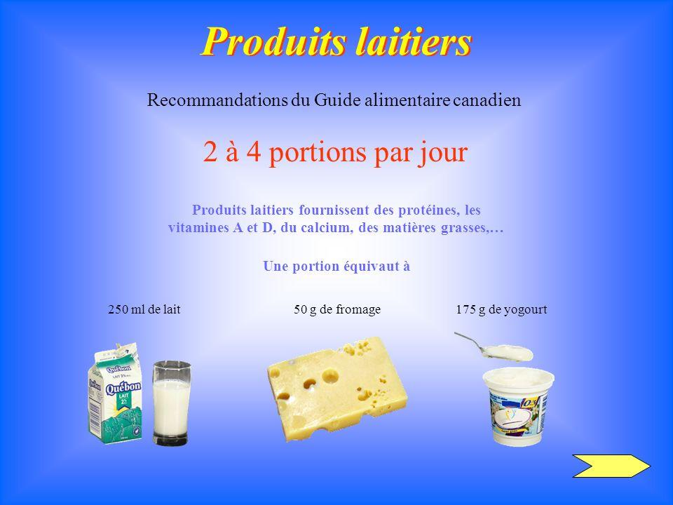 Produits laitiers Produits laitiers Recommandations du Guide alimentaire canadien 2 à 4 portions par jour Produits laitiers fournissent des protéines,