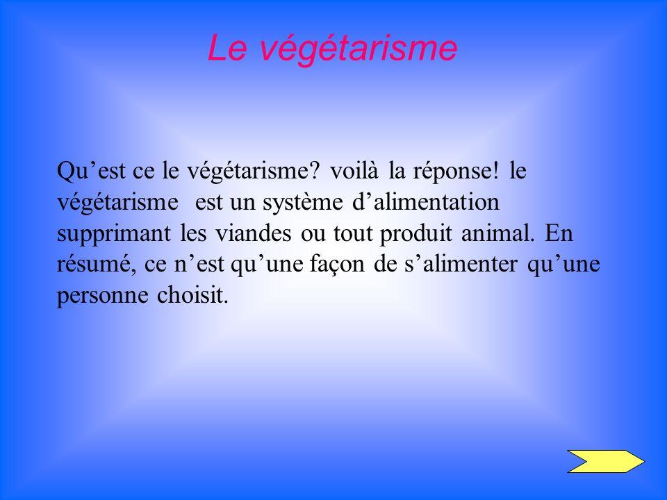 Quest ce le végétarisme? voilà la réponse! le végétarisme est un système dalimentation supprimant les viandes ou tout produit animal. En résumé, ce ne