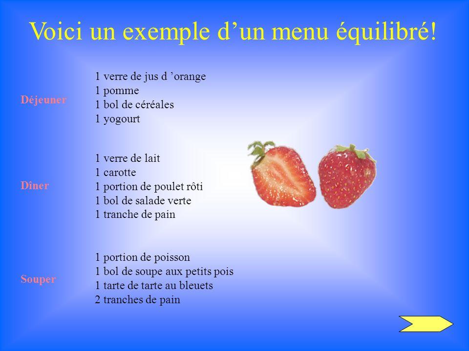 Voici un exemple dun menu équilibré! Déjeuner 1 verre de jus d orange 1 pomme 1 bol de céréales 1 yogourt Dîner 1 verre de lait 1 carotte 1 portion de