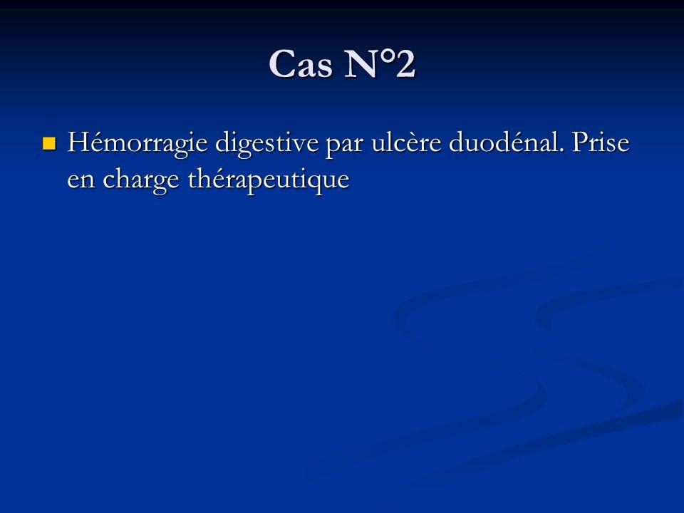 Cas N°2 Hémorragie digestive par ulcère duodénal. Prise en charge thérapeutique Hémorragie digestive par ulcère duodénal. Prise en charge thérapeutiqu