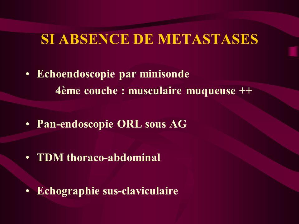 SI ABSENCE DE METASTASES Echoendoscopie par minisonde 4ème couche : musculaire muqueuse ++ Pan-endoscopie ORL sous AG TDM thoraco-abdominal Echographi