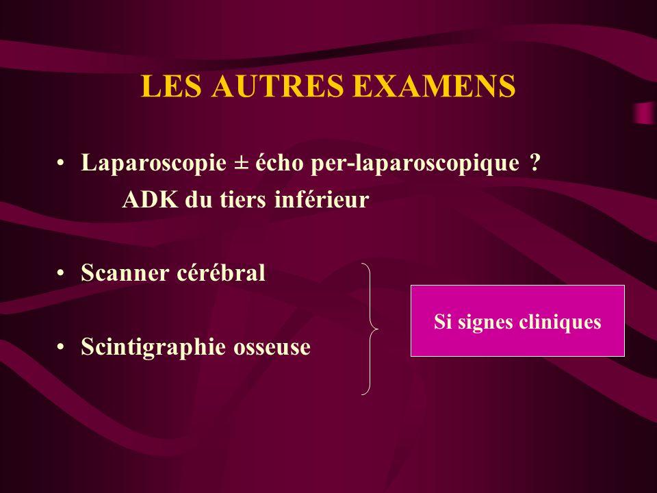 LES AUTRES EXAMENS Laparoscopie ± écho per-laparoscopique ? ADK du tiers inférieur Scanner cérébral Scintigraphie osseuse Si signes cliniques