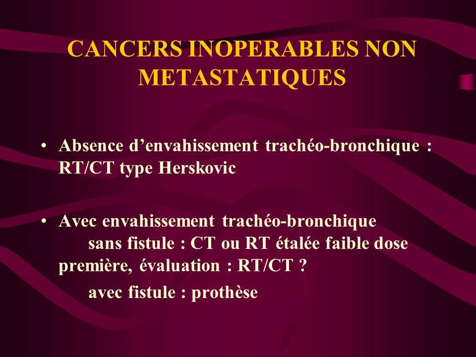 CANCERS INOPERABLES NON METASTATIQUES Absence denvahissement trachéo-bronchique : RT/CT type Herskovic Avec envahissement trachéo-bronchique sans fist