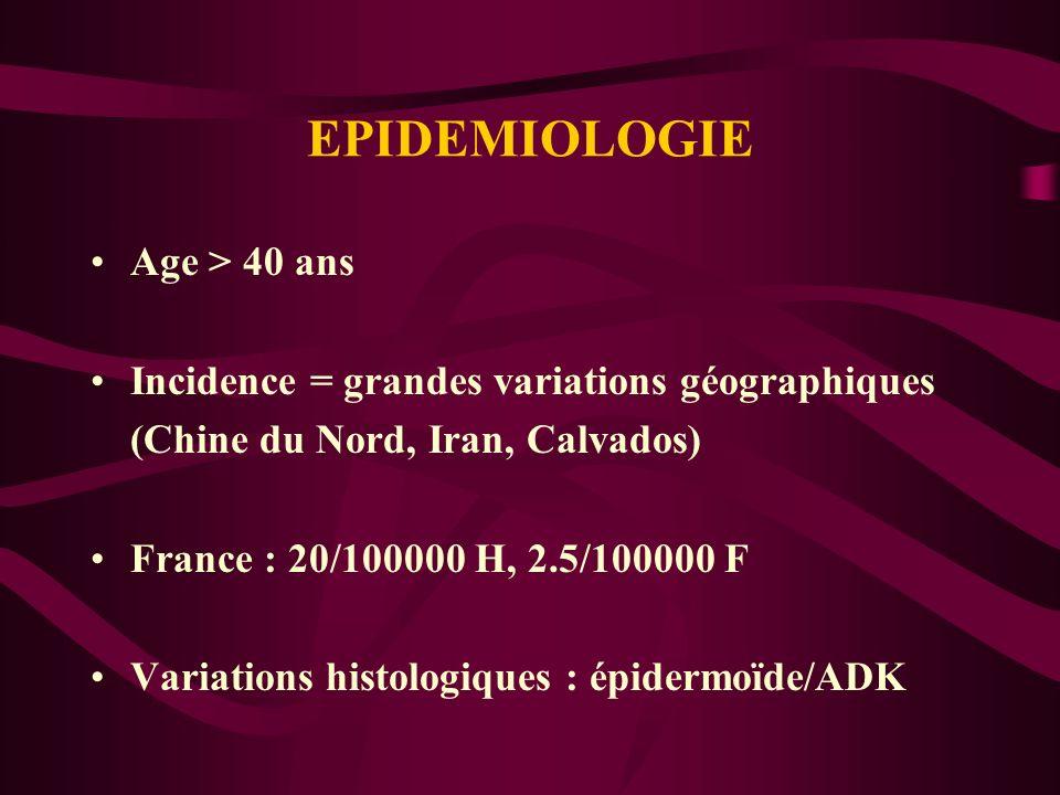 EPIDEMIOLOGIE Age > 40 ans Incidence = grandes variations géographiques (Chine du Nord, Iran, Calvados) France : 20/100000 H, 2.5/100000 F Variations