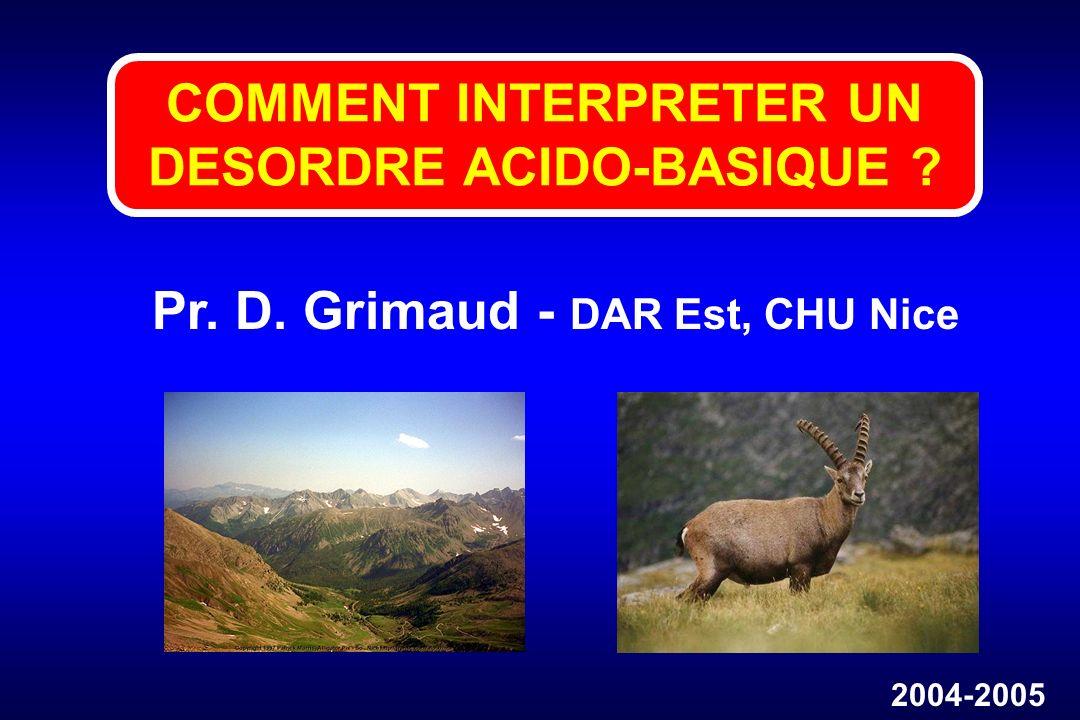 COMMENT INTERPRETER UN DESORDRE ACIDO-BASIQUE ? Pr. D. Grimaud - DAR Est, CHU Nice 2004-2005