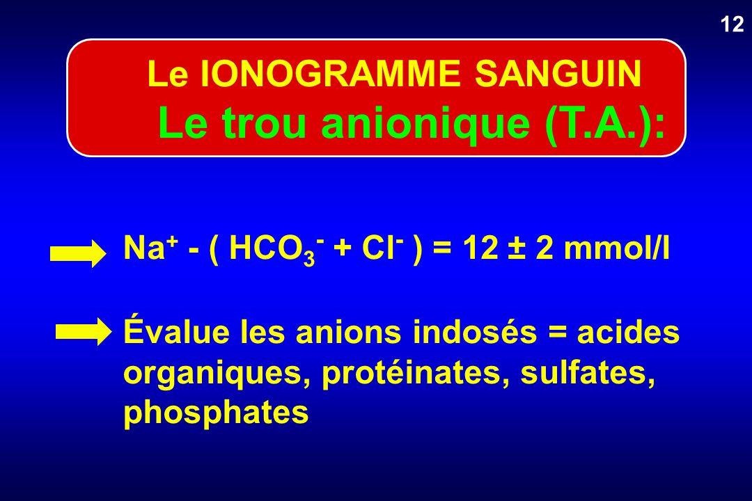 Na + - ( HCO 3 - + Cl - ) = 12 ± 2 mmol/l Évalue les anions indosés = acides organiques, protéinates, sulfates, phosphates 12 Le IONOGRAMME SANGUIN Le