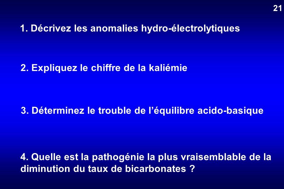1. Décrivez les anomalies hydro-électrolytiques 2. Expliquez le chiffre de la kaliémie 3. Déterminez le trouble de léquilibre acido-basique 4. Quelle
