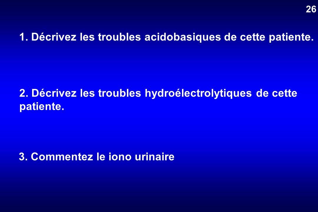 1. Décrivez les troubles acidobasiques de cette patiente. 3. Commentez le iono urinaire 2. Décrivez les troubles hydroélectrolytiques de cette patient