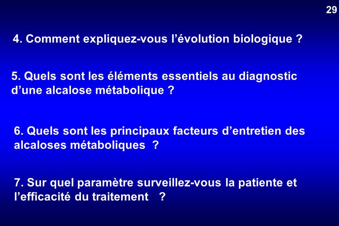 4. Comment expliquez-vous lévolution biologique ? 5. Quels sont les éléments essentiels au diagnostic dune alcalose métabolique ? 6. Quels sont les pr