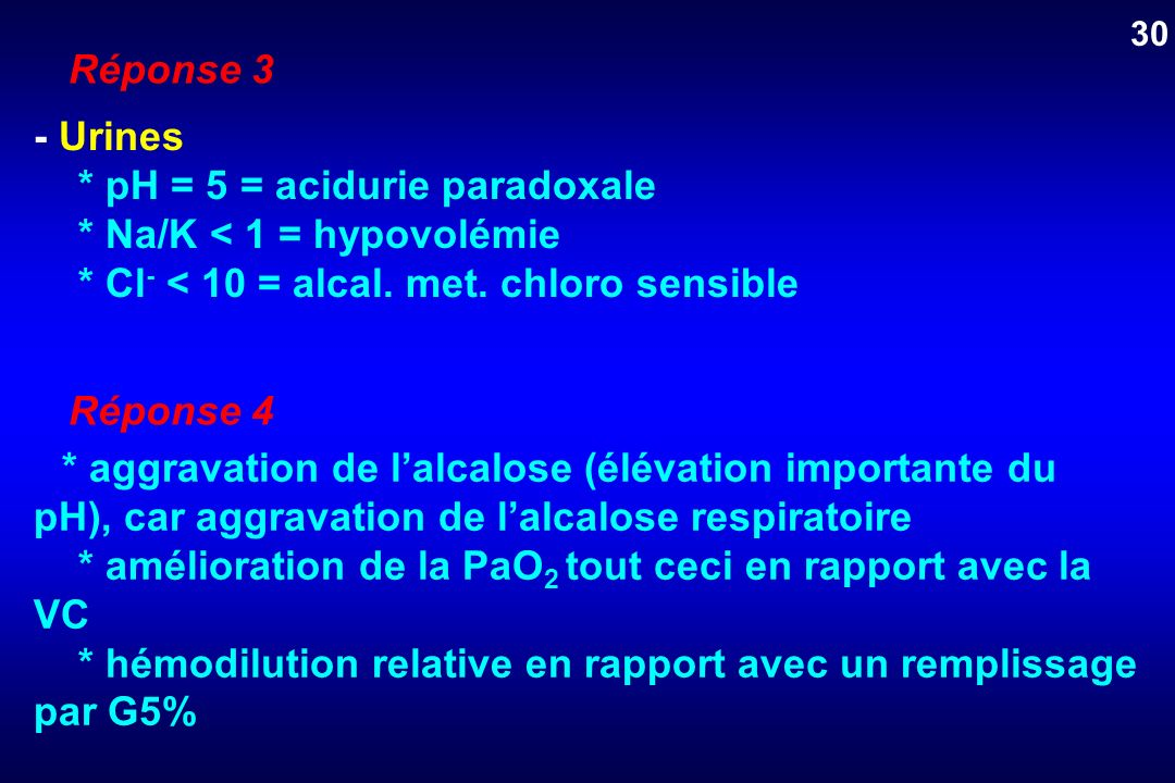 Réponse 3 - Urines * pH = 5 = acidurie paradoxale * Na/K < 1 = hypovolémie * Cl - < 10 = alcal. met. chloro sensible Réponse 4 * aggravation de lalcal
