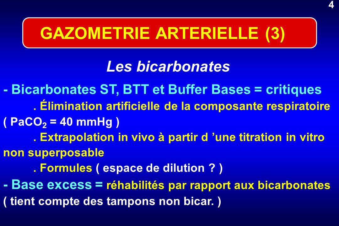 4 - Bicarbonates ST, BTT et Buffer Bases = critiques. Élimination artificielle de la composante respiratoire ( PaCO 2 = 40 mmHg ). Extrapolation in vi