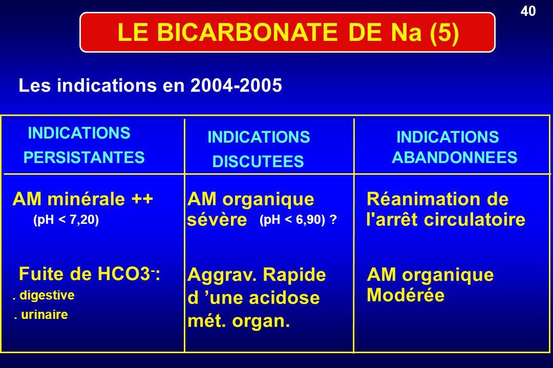 LE BICARBONATE DE Na (5) Les indications en 2004-2005 AM minérale ++AM organiqueRéanimation de (pH < 7,20) sévère (pH < 6,90) ? l'arrêt circulatoire F