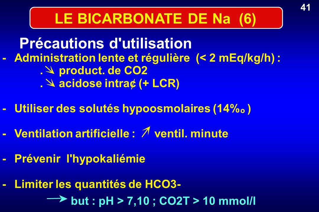 LE BICARBONATE DE Na (6) Précautions d'utilisation -Administration lente et régulière (< 2 mEq/kg/h) :. product. de CO2. acidose intra¢ (+ LCR) -Utili