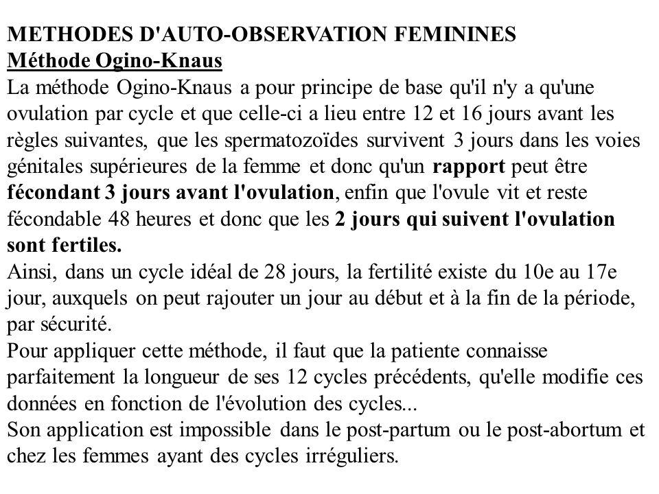 METHODES D'AUTO-OBSERVATION FEMININES Méthode Ogino-Knaus La méthode Ogino-Knaus a pour principe de base qu'il n'y a qu'une ovulation par cycle et que