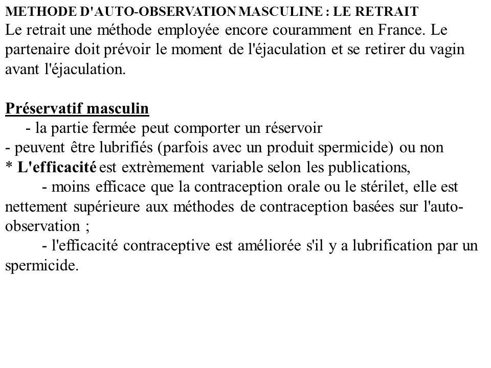 METHODE D'AUTO-OBSERVATION MASCULINE : LE RETRAIT Le retrait une méthode employée encore couramment en France. Le partenaire doit prévoir le moment de