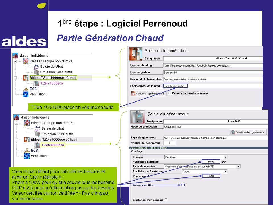 1 ère étape : Logiciel Perrenoud Partie Génération Chaud T.Zen 400/4000 placé en volume chauffé Valeurs par défaut pour calculer les besoins et avoir