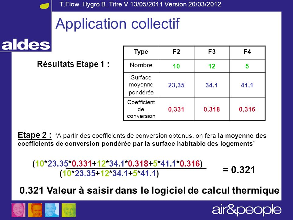 T.Flow_Hygro B_Titre V 13/05/2011 Version 20/03/2012 Etape 2 : A partir des coefficients de conversion obtenus, on fera la moyenne des coefficients de