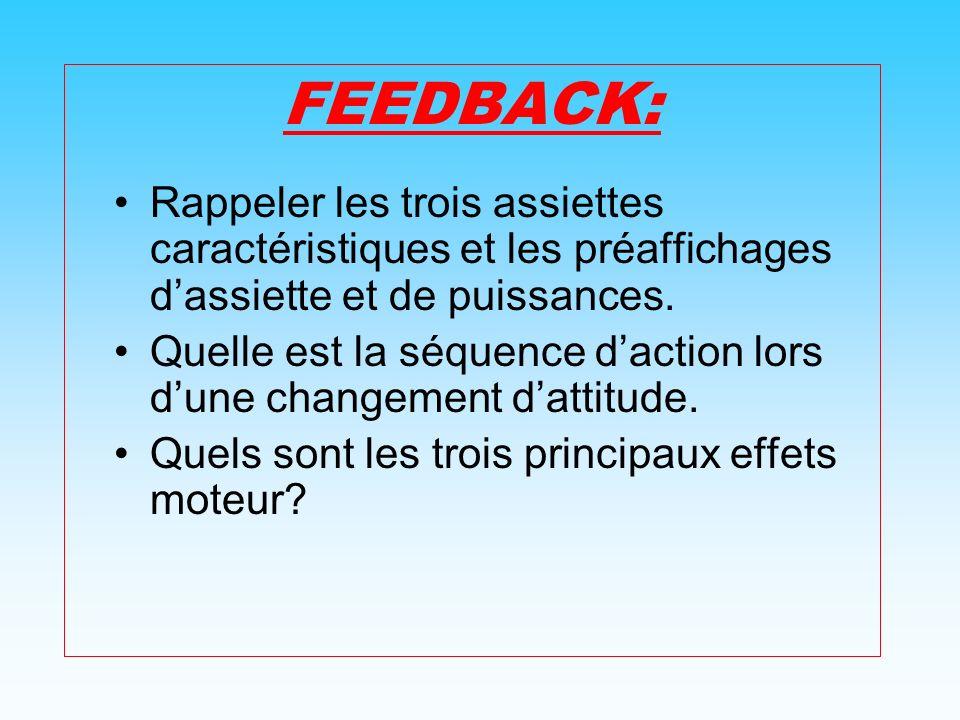 FEEDBACK: Rappeler les trois assiettes caractéristiques et les préaffichages dassiette et de puissances.