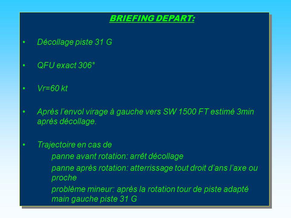 BRIEFING DEPART: Décollage piste 31 G QFU exact 306° Vr=60 kt Après lenvol virage à gauche vers SW 1500 FT estimé 3min après décollage.