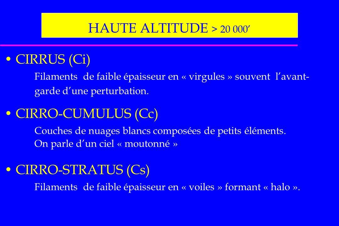 HAUTE ALTITUDE > 20 000 CIRRUS (Ci) Filaments de faible épaisseur en « virgules » souvent lavant- garde dune perturbation. CIRRO-CUMULUS (Cc) Couches