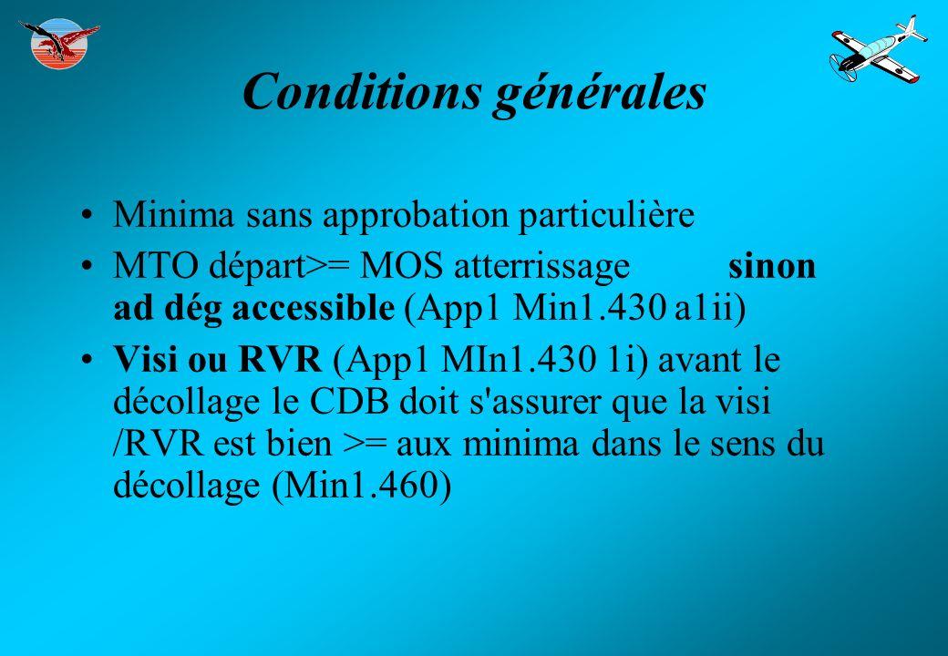 Conditions générales Minima sans approbation particulière MTO départ>= MOS atterrissage sinon ad dég accessible (App1 Min1.430 a1ii) Visi ou RVR (App1