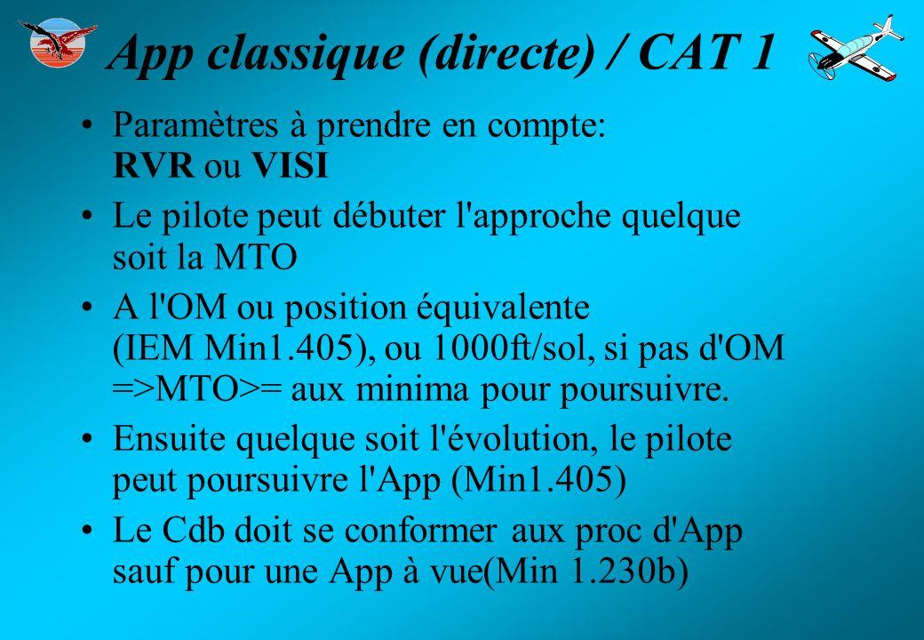 App classique (directe) / CAT 1 Paramètres à prendre en compte: RVR ou VISI Le pilote peut débuter l'approche quelque soit la MTO A l'OM ou position é