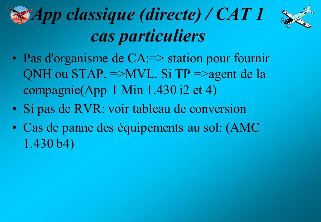 App classique (directe) / CAT 1 cas particuliers Pas d'organisme de CA:=> station pour fournir QNH ou STAP. =>MVL. Si TP =>agent de la compagnie(App 1