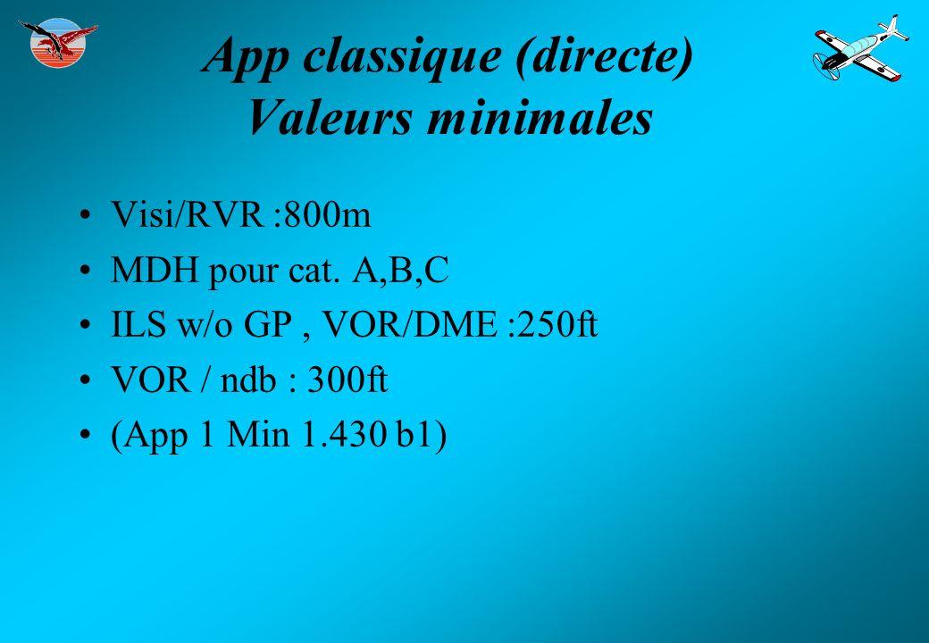 App classique (directe) Valeurs minimales Visi/RVR :800m MDH pour cat. A,B,C ILS w/o GP, VOR/DME :250ft VOR / ndb : 300ft (App 1 Min 1.430 b1)