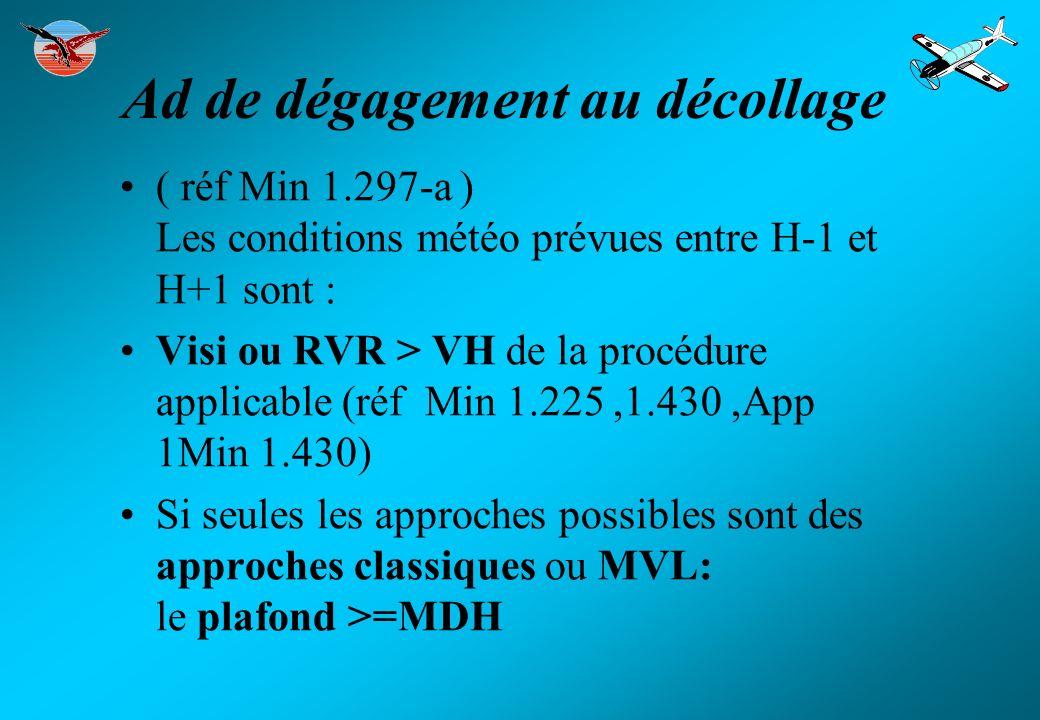 Ad de Destination Si pas d info MTO ou info MTO 2 dégagements.(Min 1.292-d) ( réf Min 1.297-b1 ) (AMC Min 1.297) Les conditions météo prévues entre H-1 et H+1 sont : Visi ou RVR > VH de la procédure applicable (réf Min 1.225,1.430,App 1Min 1.430) Si seules les approches possibles sont des approches classiques ou MVL: le plafond >= MDH