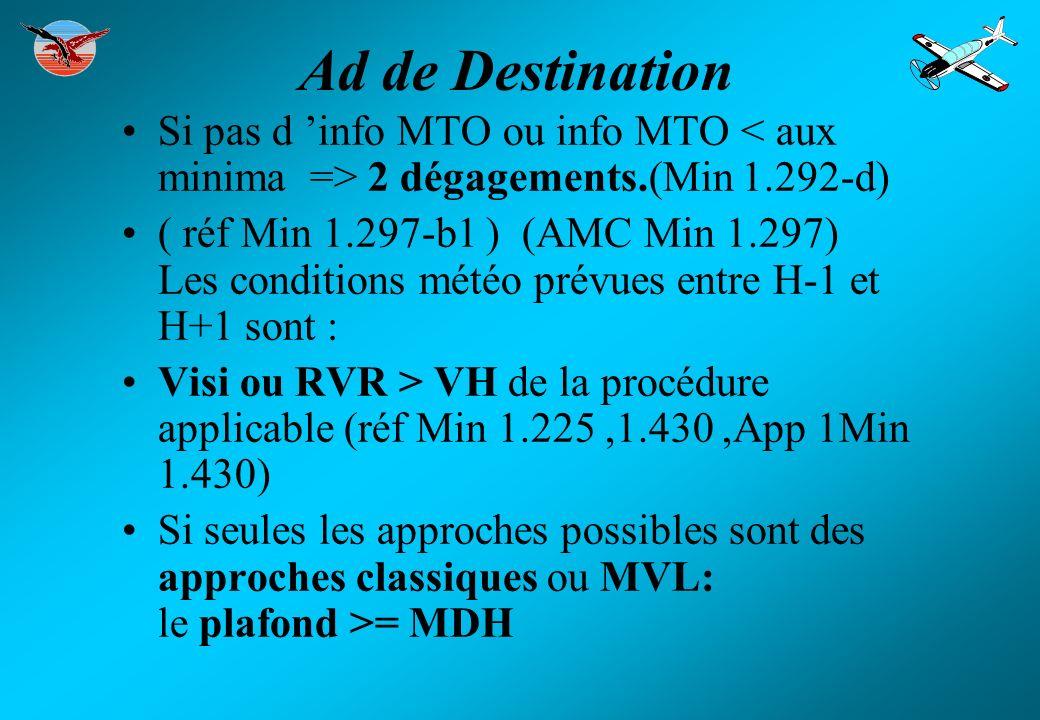 Dégagement en route Positionné dans un cercle défini par: Centre distant de la destination du max entre :25% de Dtot et 20% de Dtot + 50 Nm rayon 20% Dtot (AMC Min 1.295) Minima préparation : ( réf Min 1.297-b2 ) Les conditions météo prévues entre H-1 et H+1 sont :
