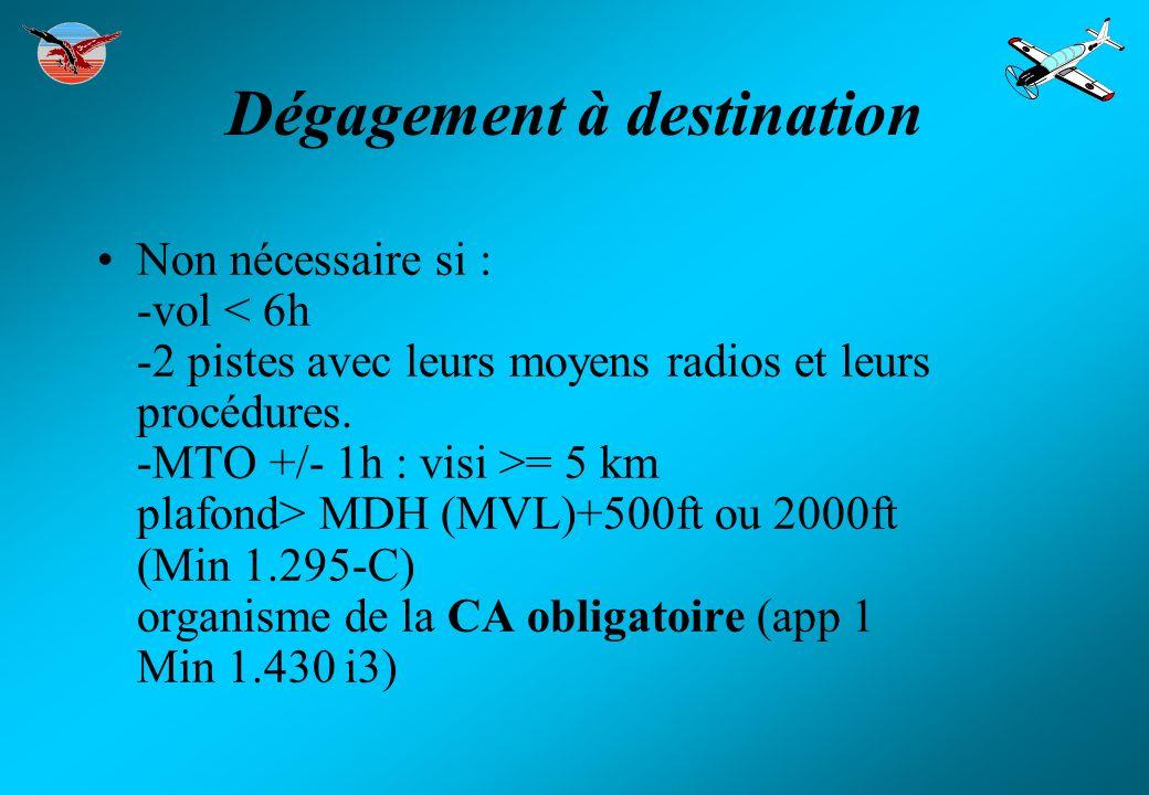 Dégagement à destination Non nécessaire si : -vol = 5 km plafond> MDH (MVL)+500ft ou 2000ft (Min 1.295-C) organisme de la CA obligatoire (app 1 Min 1.