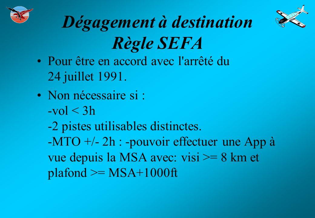 Dégagement à destination Règle SEFA Pour être en accord avec l'arrêté du 24 juillet 1991. Non nécessaire si : -vol = 8 km et plafond >= MSA+1000ft