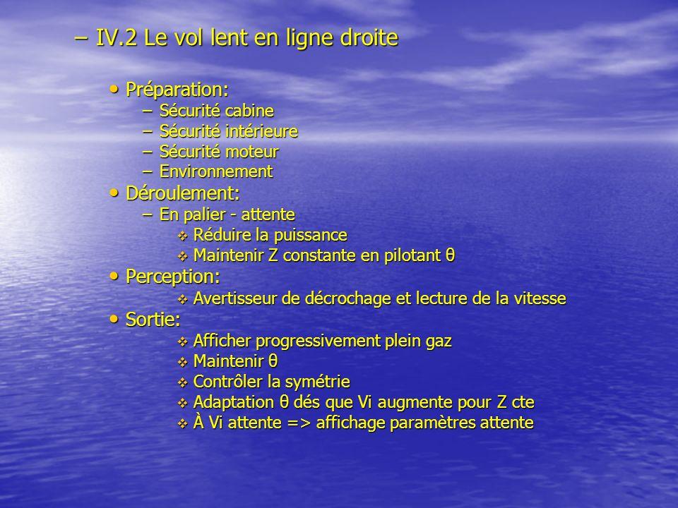 –IV.2 Le vol lent en ligne droite Préparation: Préparation: –Sécurité cabine –Sécurité intérieure –Sécurité moteur –Environnement Déroulement: Déroule