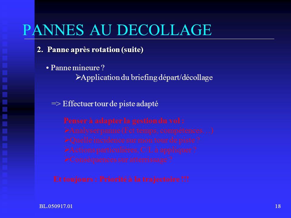 BL.050917.0118 2. Panne après rotation (suite) PANNES AU DECOLLAGE => Effectuer tour de piste adapté Panne mineure ? Application du briefing départ/dé