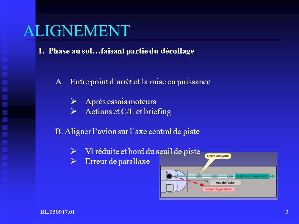 BL.050917.013 ALIGNEMENT A.Entre point darrêt et la mise en puissance Après essais moteurs Actions et C/L et briefing B. Aligner lavion sur laxe centr