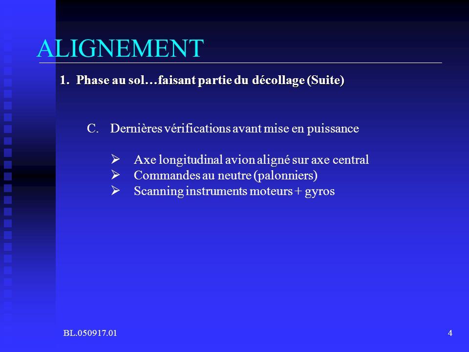 BL.050917.014 ALIGNEMENT 1. Phase au sol…faisant partie du décollage (Suite) C.Dernières vérifications avant mise en puissance Axe longitudinal avion