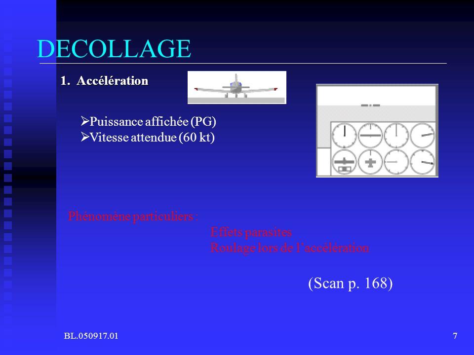 BL.050917.017 DECOLLAGE 1. Accélération Puissance affichée (PG) Vitesse attendue (60 kt) Phénomène particuliers : Effets parasites Roulage lors de lac