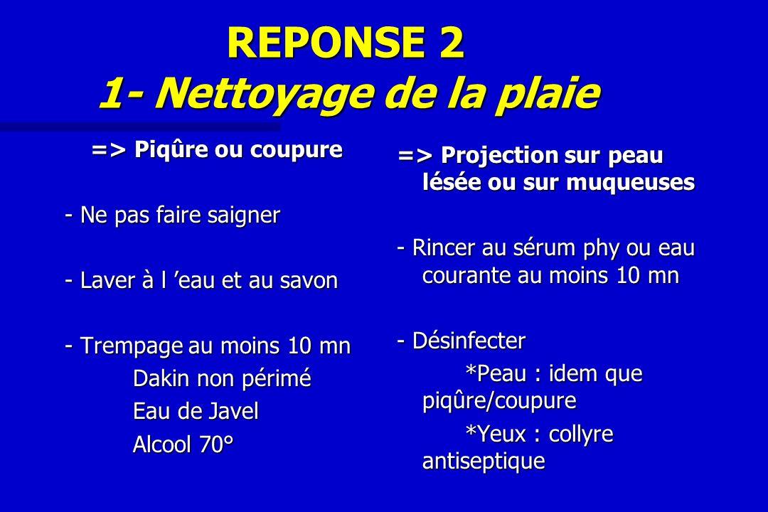REPONSE 2 1- Nettoyage de la plaie => Piqûre ou coupure - Ne pas faire saigner - Laver à l eau et au savon - Trempage au moins 10 mn Dakin non périmé