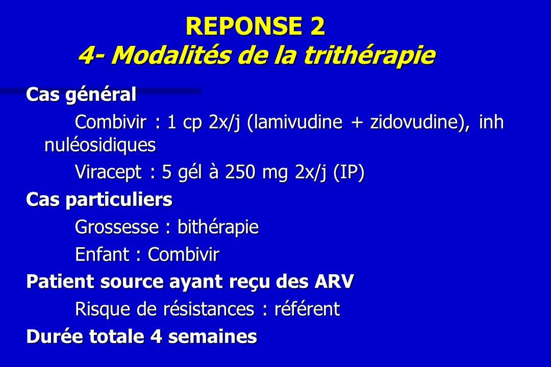 REPONSE 2 4- Modalités de la trithérapie Cas général Combivir : 1 cp 2x/j (lamivudine + zidovudine), inh nuléosidiques Viracept : 5 gél à 250 mg 2x/j